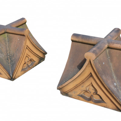 Pair Of 19th Century Terracotta Pier Caps