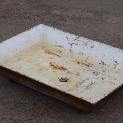 large Cast iron trough enamel /planter - old animal feeder