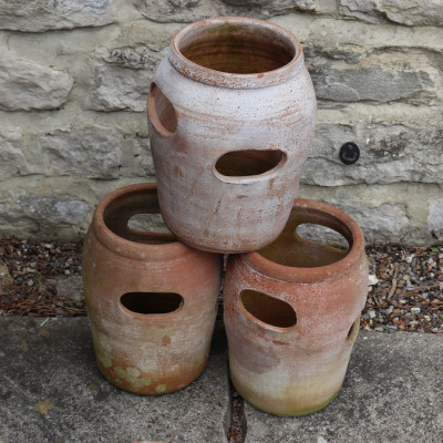 Used weathered terracotta clay strawberry herb garden planters pots