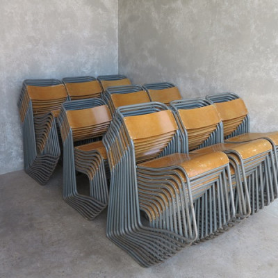 Vintage Industrial Cox Steel Plywood Stacking Chairs