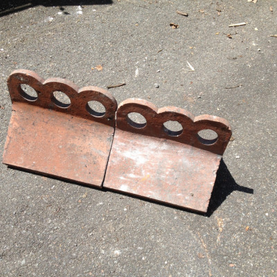 Ridge Tiles Salvaged Victorian Crested Red Clay Ridges 3 hole 028  x 2 off Terracotta