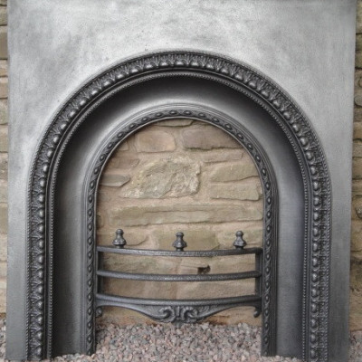 Victorian arched cast iron fire place insert