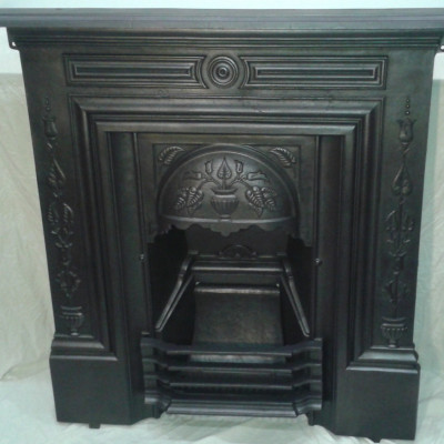 Late Victorian 36″ art nouveau cast iron fireplace.