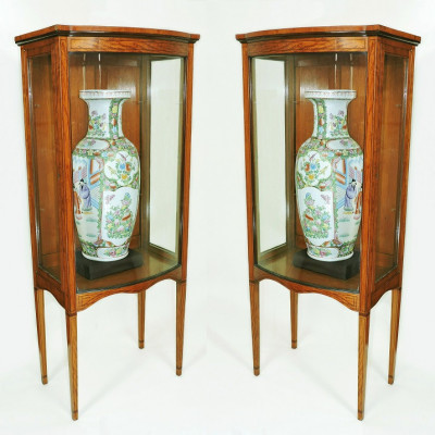 Pair of Edwardian Satinwood Sheraton revival, bow front, display or pier cabinets. Of small proportions. Manchester