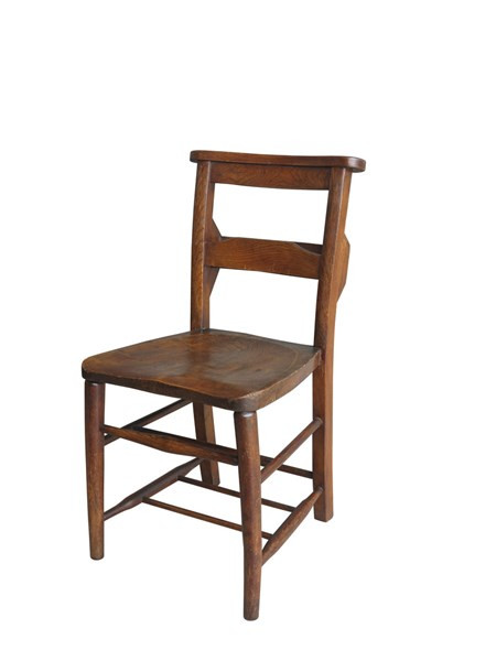 Victorian Antique Dark Church Chairs With Bible Backs
