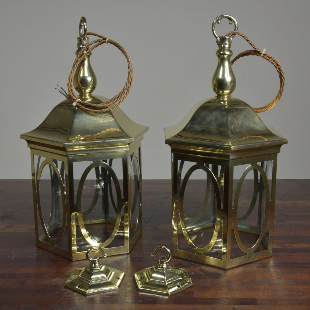 Pair Arts & Crafts Brass Lanterns