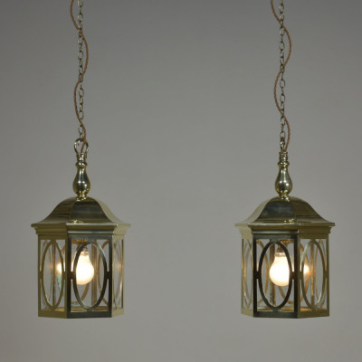 Pair Arts & Crafts Brass Lanterns