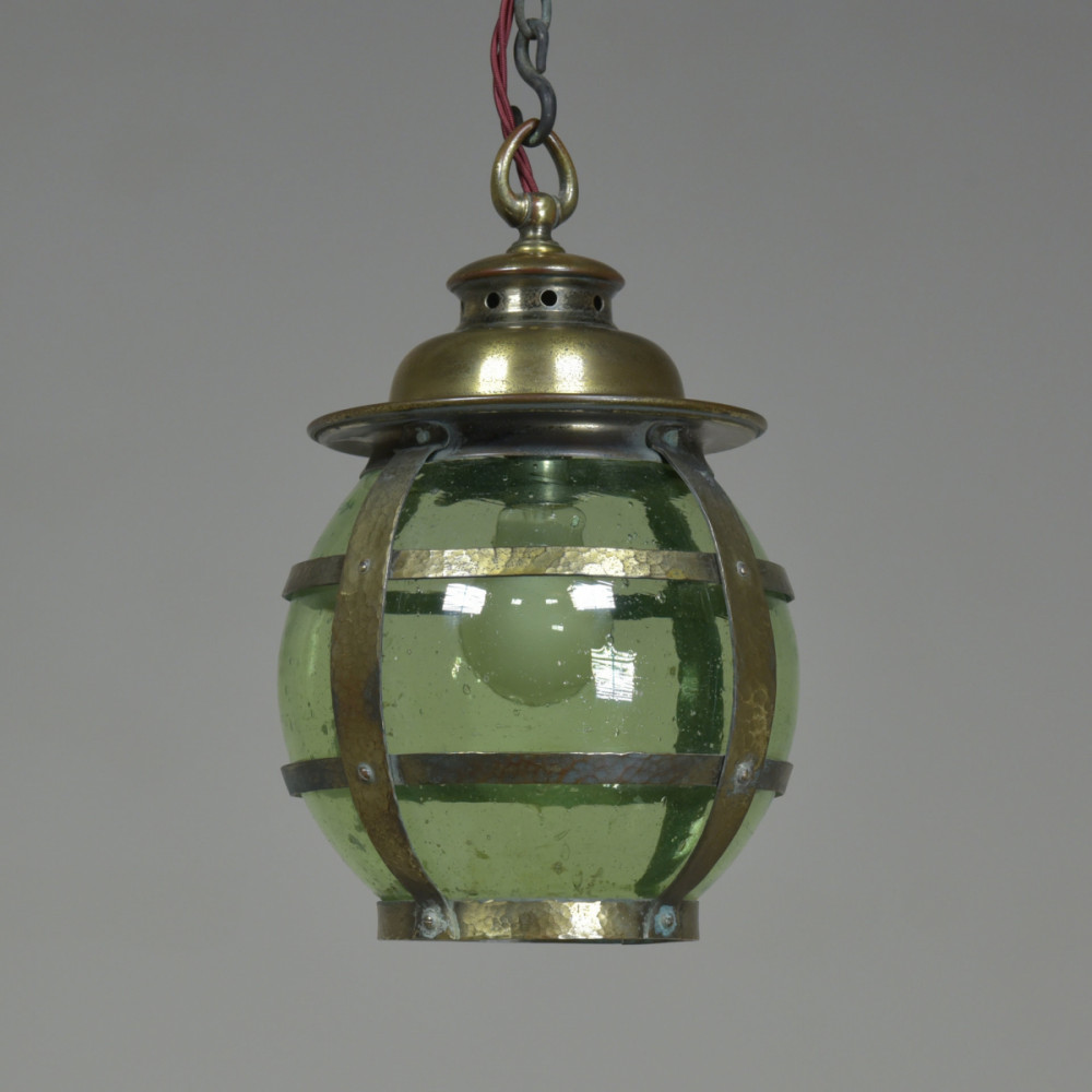 Antique Arts & Crafts Green Globe Lantern