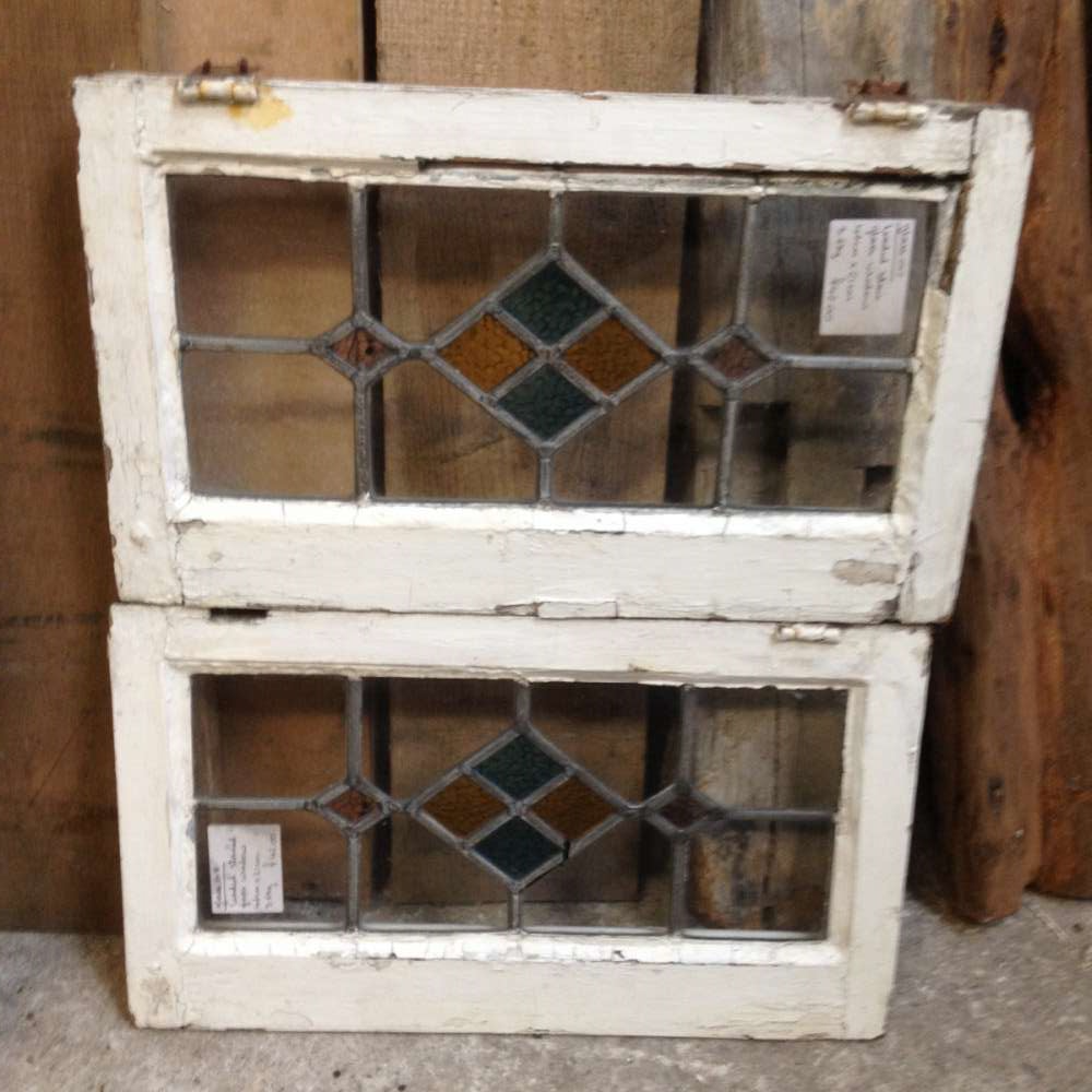 For Sale Leaded Stained Glass Window Panels Matching Pair Wooden ...