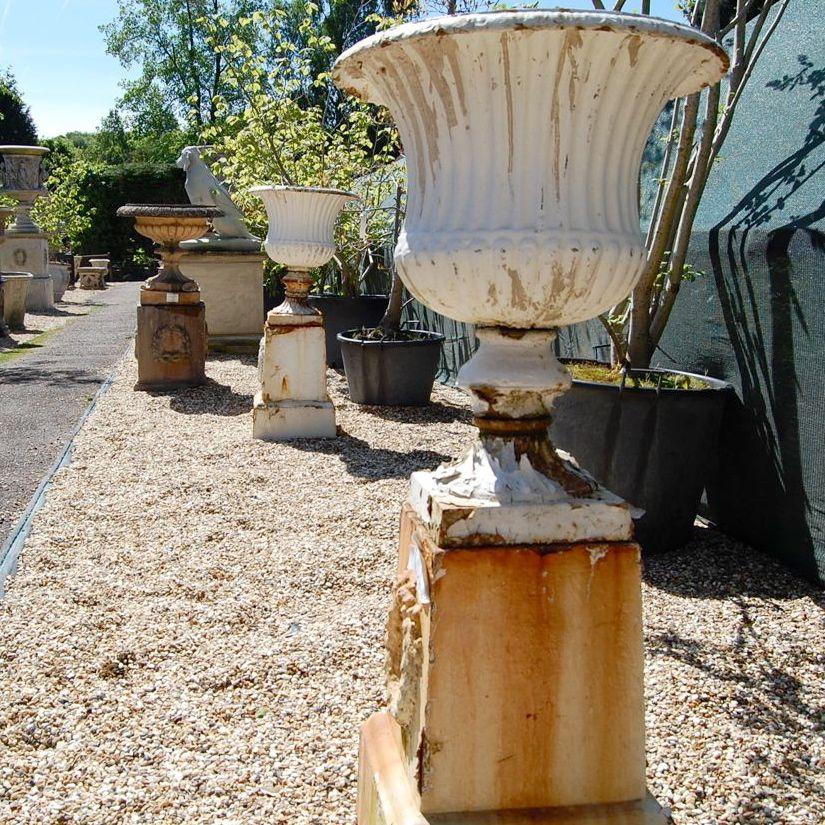 Reclaimed Cast Iron Urns on Plinths