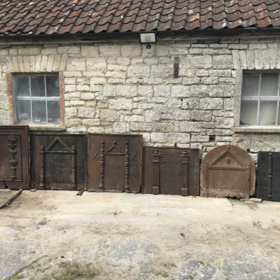 Collection Of Six 17th Century Antique Cast Firebacks