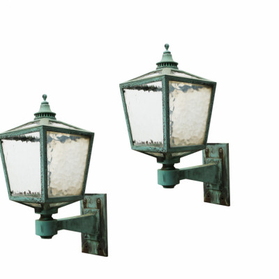 Pair Of Large Antique Bronze Exterior Wall Lights Circa 1910