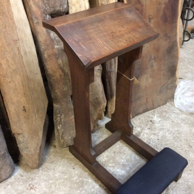 19th c Prayer Stand Vintage Oak Church Lectern Salvaged Original With Kneeling Pad Bible & Prayer Stand