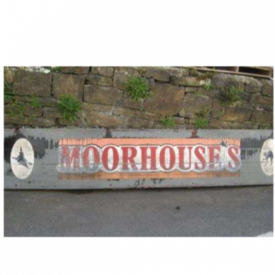 "Original Vintage Salvaged English Wooden Pub Sign  ""Moorhouses"" Of  Lancashire sign005"