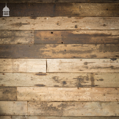 Batch of over 100 Square Metres of 19th C Reclaimed Industrial Pine Floorboards Wall Cladding