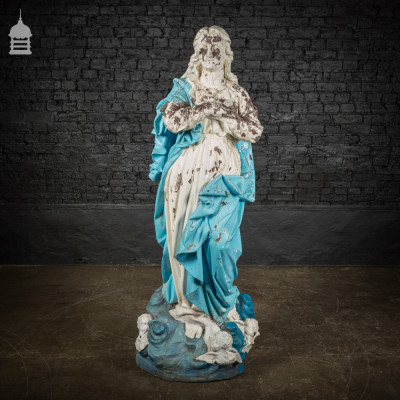 Large Early 20th C Resin Composite Statue of Mary with Cherubs