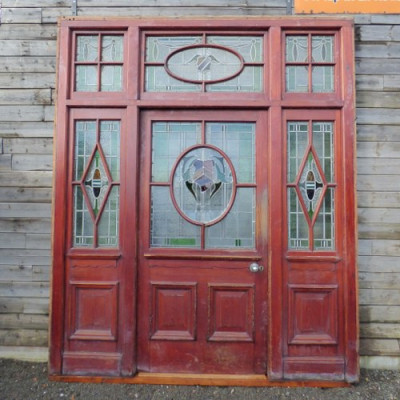Reclaimed pitch pine cased stained glass external door