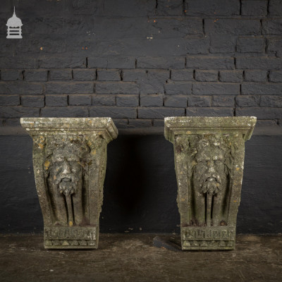 Pair of Large Composition Stone Corbels with Zeus Face Detail