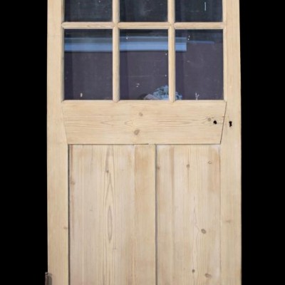 A half glazed Victorian pine school door