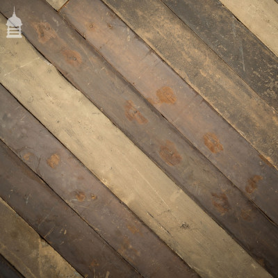 Batch of 7 Square Metres of Reclaimed Pine T+G Floorboards Wall Cladding with Distressed Paint Finish