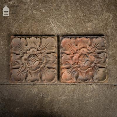 Pair of 19th C Terracotta Tiles with Tudor Rose Design