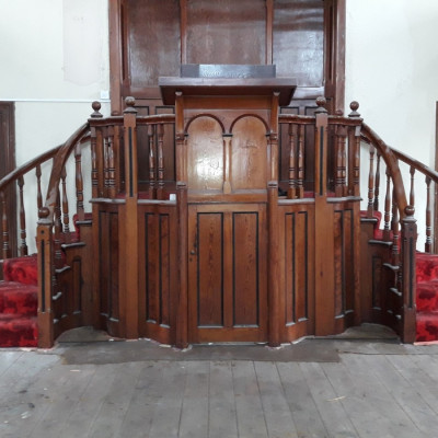 FANTASTIC PITCH PINE CHURCH PULPIT.