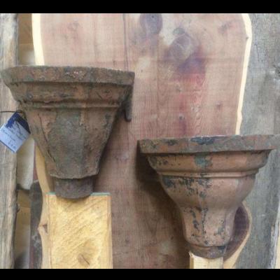 Hoppers Original Cast Iron Ornate Rain Water Hoppers Planters Pair 005