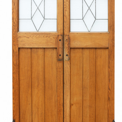 Pair Of 1930s Oak Interior Swing Doors With Leaded Glass