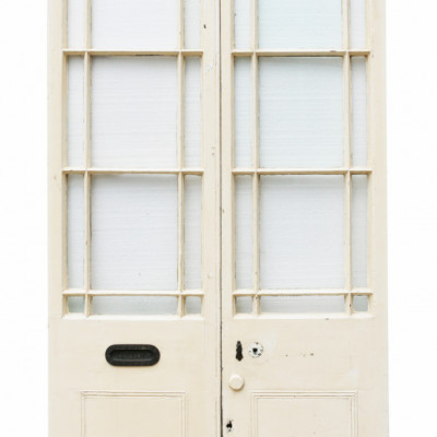 Pair Of Georgian Painted Pine Margin Glazed Exterior Double Doors