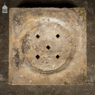19th C Carved Sandstone Drain Cover