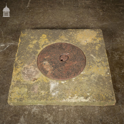 19th C Yorkstone Well Top with Round Cast Iron Cover