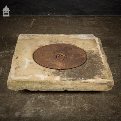 19th C Yorkstone Well Top with Cast Iron Cover