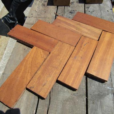 Teak Woodblock Parquet Flooring.