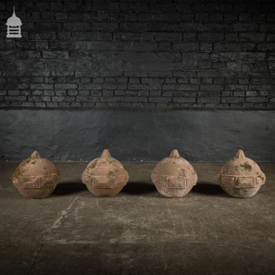 Set of 4 18th C Carved Sandstone Ball Pier Caps Finials