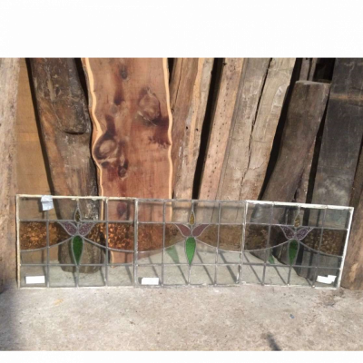 Vintage Art Deco Stained Glass Window Panels Geometric Set Of 3 Glass 012