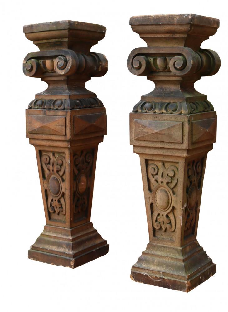 Pair Of Antique Terracotta Plinths / Lamp Bases