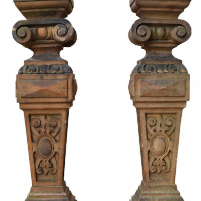 Pair Of Antique Terracotta Plinths / Lamp Bases