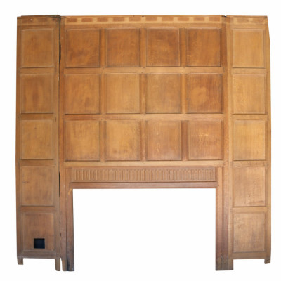 Antique Oak Panelled Fireplace / Feature Wall