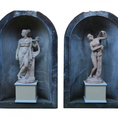 Pair Antique Statues Of The Callipygian Venus And Terpsichore Muse