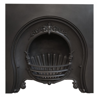 Antique Victorian Cast Iron Horseshoe Fireplace Insert
