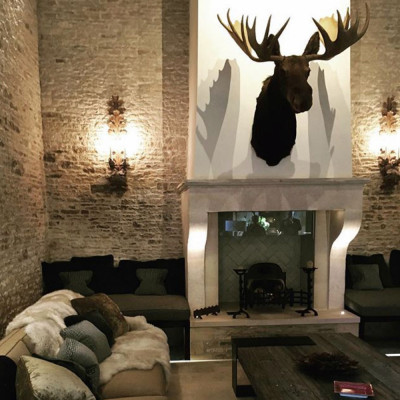 Antique French Stone Fireplace Before and After