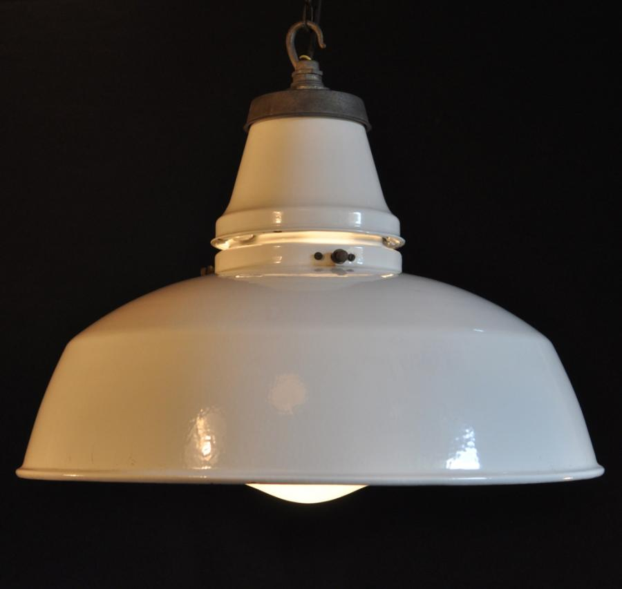 antique white enamel shades with glass diffusers