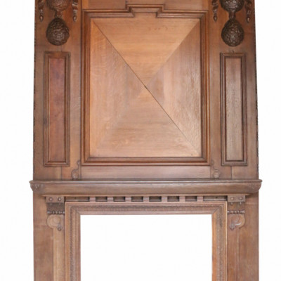 A Grand 19th Century English Oak Fire Surround / Mantlepiece