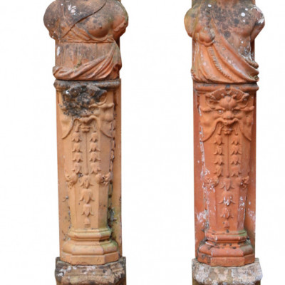 A Pair Of Antique Terracotta Terms Of Classical Design