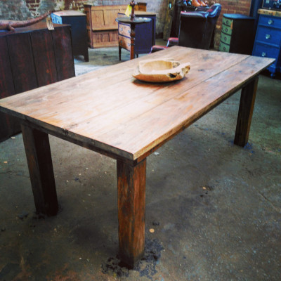 Salvaged bakers industrial sycamore chopping table