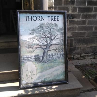 Metal pub sign thorn tree