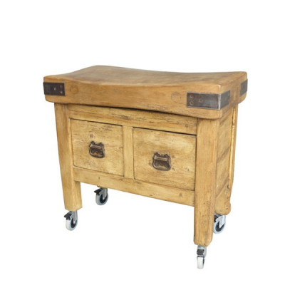 Antique Butchers Block on Base With Drawers