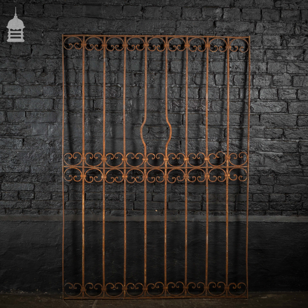 Wide Georgian Wrought Iron Railing Panel with Scroll Detail