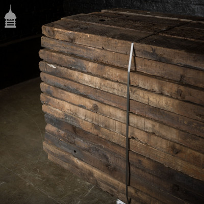 Pack of 50 Lengths of Reclaimed Treated Pine Half Sleepers  Board sizes:  Length: 2675-2840mm, 105.25-111.75""