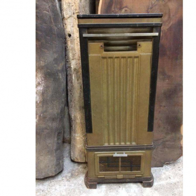 Metal Gas Heater Reclaimed  Heater Art Deco Style 1950's Free Standing Cinema